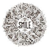 Uitnodiging of prentbriefkaarmalplaatje met woordglimlach Stock Foto