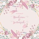 Uitnodiging van het meetkunde de roze gouden huwelijk met roze, blad, lint, kroon, veer en kader vector illustratie