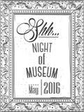 Uitnodiging voor de nacht in een museum in het kader voor een beeld Stock Afbeelding