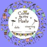 Uitnodiging voor de partij van kinderen royalty-vrije illustratie