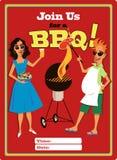 Uitnodiging voor een barbecuepartij Stock Foto