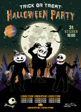 Uitnodiging voor een Halloween-partij, de drie zombieën, verticale illustratie Stock Foto's