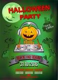 Uitnodiging voor een Halloween-partij, de hoofdtelefoons van pompoendj Stock Fotografie