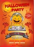 Uitnodiging voor een Halloween-partij, de hoofdtelefoons van pompoendj Stock Foto's
