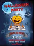 Uitnodiging voor een Halloween-partij, de hoofdtelefoons van pompoendj Royalty-vrije Stock Fotografie