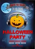 Uitnodiging voor een Halloween-partij, pompoen DJ Stock Foto's
