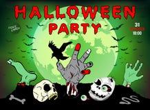 Uitnodiging voor een Halloween-partij, zombie, schedel, illustratie, affiche, groetkaart Royalty-vrije Stock Foto's