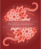 Uitnodiging voor een huwelijk in rode en Indische bloemen stock illustratie