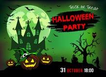 Uitnodiging voor een partij Halloween, drie pompoenen, illustratie Stock Afbeeldingen