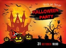 Uitnodiging voor een partij Halloween, drie pompoenen, illustratie Royalty-vrije Stock Foto's