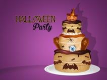 Uitnodiging voor Halloween-partij met cake vector illustratie