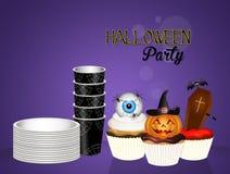 Uitnodiging voor Halloween-partij met cupcakes vector illustratie