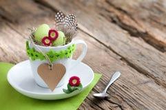 Uitnodiging voor Pasen-ontbijt met hart en copyspace Stock Foto