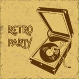 Uitnodiging voor retro partij met grammofoon Stock Afbeelding