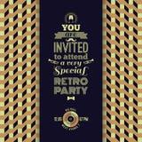 Uitnodiging voor retro partij Uitstekende retro geometrische achtergrond Royalty-vrije Stock Afbeeldingen