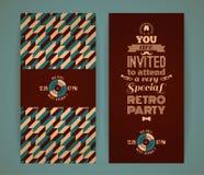 Uitnodiging voor retro partij Uitstekende retro geometrische achtergrond Royalty-vrije Stock Foto