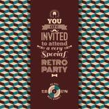 Uitnodiging voor retro partij Uitstekende retro geometrische achtergrond Stock Foto's