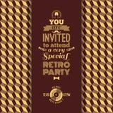 Uitnodiging voor retro partij Uitstekende retro geometrische achtergrond Royalty-vrije Stock Fotografie