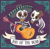 Uitnodigingsaffiche aan de Dag van de dode partij Royalty-vrije Stock Afbeelding