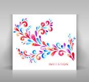 Uitnodigingskaart met bloemendecoratie Stock Afbeelding