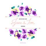Uitnodigingskaart met bloemenviooltjeboeketten royalty-vrije illustratie