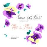 Uitnodigingskaart met bloemenviooltjeboeketten stock illustratie