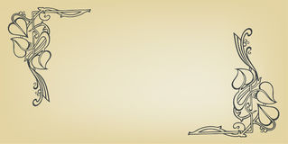 Uitnodigingskaart met de slinger van het bloemhuwelijk in Jugendstilstijl stock foto's