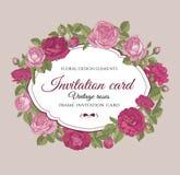 Uitnodigingskaart met hand getrokken bloemen Stock Afbeelding