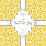 Uitnodigingskaart met Islamitisch geel patroon Royalty-vrije Stock Foto's