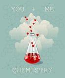 Uitnodigingskaart op achtergrond Vectorillustratie voor Valentijnskaartendag of huwelijk Vectorillustratie van chemiefles gevulde stock illustratie