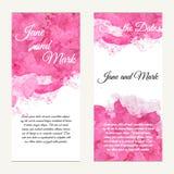 Uitnodigingskaart op huwelijk, verjaardag Achtergrond met waterverf Royalty-vrije Stock Afbeeldingen