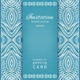 Uitnodigingskaart in uitstekende stijl met kantpatroon Royalty-vrije Stock Afbeeldingen