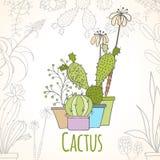 Uitnodigingskaart van cactus in potten royalty-vrije illustratie