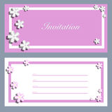 Uitnodigingskaarten met een bloesemsakura voor uw ontwerp Stock Fotografie