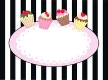 Uitnodigingsteken of etiket met cupcakes Royalty-vrije Stock Fotografie