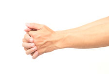Uitrekkende oefeningenvinger en hand op witte achtergrond Stock Foto