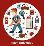 Uitroeiing of de bedrijfsinformatieaffichemalplaatje van de ongediertebestrijdingsdienst voor sanitaire binnenlandse desinfectie royalty-vrije illustratie