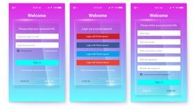 Uitrusting van UX-het Scherm op glasachtergrond Register of vergunning, interface voor touchscreen mobiele apps Ingang via vector illustratie