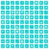 100 uitrustingspictogrammen geplaatst grunge blauw Royalty-vrije Stock Afbeelding