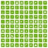 100 uitrustingspictogrammen geplaatst grunge groen Stock Foto's