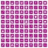 100 uitrustingspictogrammen geplaatst grunge roze Stock Afbeelding