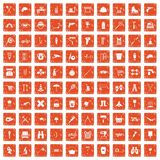 100 uitrustingspictogrammen geplaatst grunge sinaasappel Stock Afbeelding