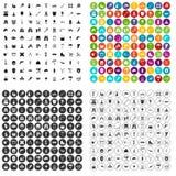 100 uitrustingspictogrammen geplaatst vectorvariant Stock Foto