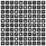 100 uitrustingspictogrammen geplaatst zwart Royalty-vrije Stock Afbeeldingen