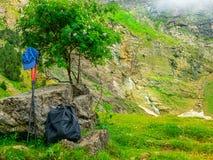 Uitrustingswandelaar Rugzakken, wandelstokken en GLB van een toerist in de bergen op een halt onder een boom royalty-vrije stock afbeeldingen