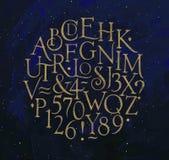 Uitstekend alfabetletters en getallen blauw Stock Foto
