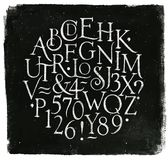 Uitstekend alfabetletters en getallen krijt Royalty-vrije Stock Afbeelding