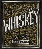 Uitstekend Amerikaans whiskykenteken Alcoholisch Etiket met kalligrafische elementen Hand het getrokken gegraveerde schets van le royalty-vrije illustratie