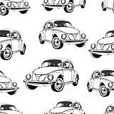 Uitstekend auto naadloos patroon, zwart-witte retro beeldverhaalachtergrond, kleurend boek, zwart-wit tekening auto's op a Voor Royalty-vrije Stock Afbeeldingen