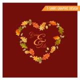 Uitstekend Autumn Floral Graphic Design - voor Kaart, T-shirt, Manier Stock Afbeelding
